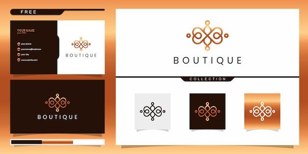 Elegante abstrakte boutique, die schönheit, yoga und spa inspiriert. logo-design und visitenkarte