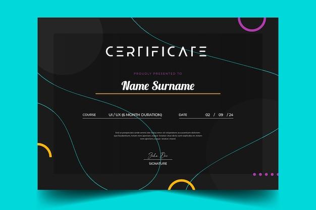 Elegante abstrakte zertifikatvorlage