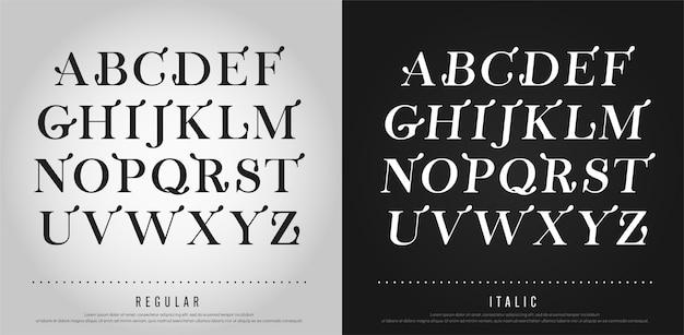 Elegante alphabet buchstaben gesetzt. typografie schrift exklusive schriftzug klassischen stil