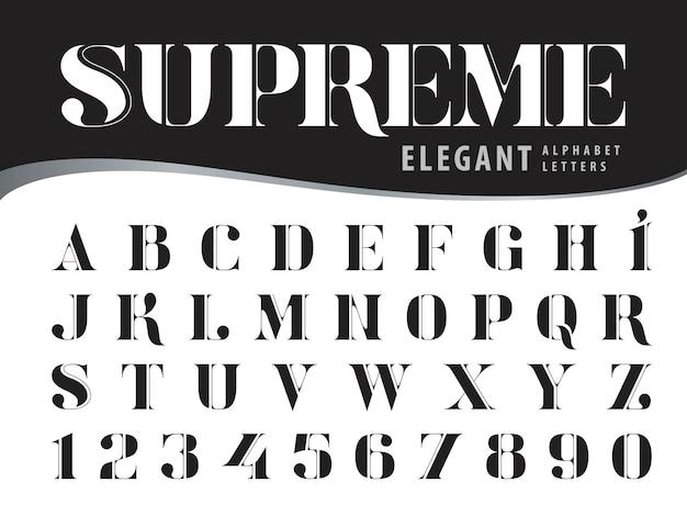 Elegante alphabet-buchstaben, moderne serifen-artgüsse, vintage und retro typografie