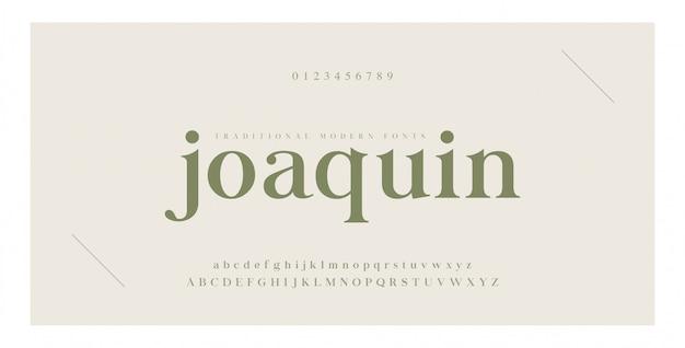 Elegante alphabet buchstaben serifenschrift und nummer