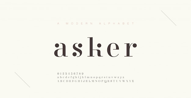 Elegante alphabetbuchstaben schriftart und nummer. klassische beschriftung minimal fashion designs. typografie-schriftarten werden regelmäßig in groß- und kleinbuchstaben geschrieben.