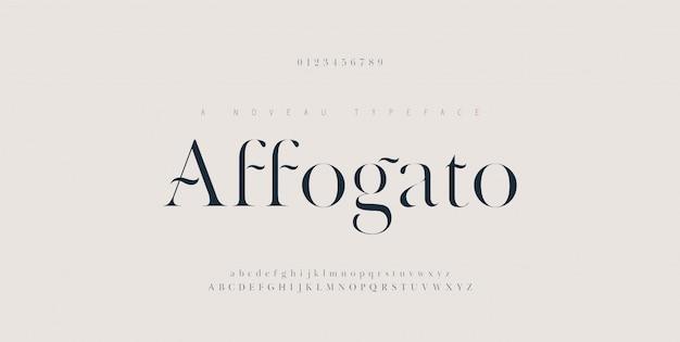 Elegante alphabetbuchstaben schriftart und nummer. klassische kupferbeschriftung minimale modedesigns. typografie-schriftarten werden regelmäßig in groß- und kleinbuchstaben geschrieben.