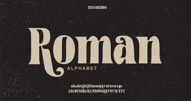 Elegante alphabetbuchstaben schriftart und nummer.