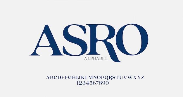 Elegante alphabetbuchstaben serifenschrift und zahlensatz