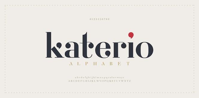 Elegante alphabetbuchstabenschrift. klassische moderne serifenbeschriftung minimal fashion