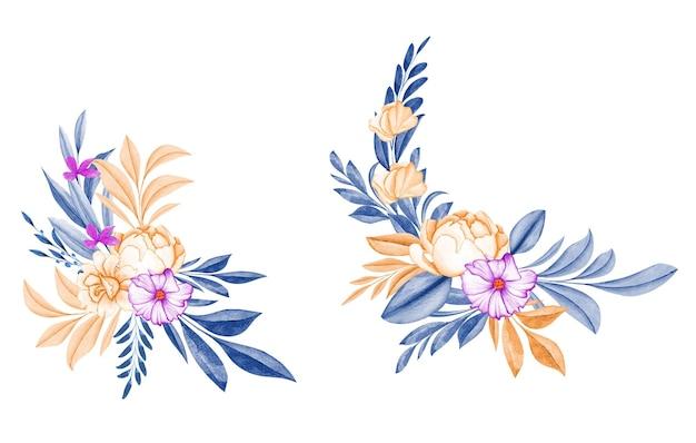 Elegante aquarell blumenrahmen des friedens stieg mit marineblättern
