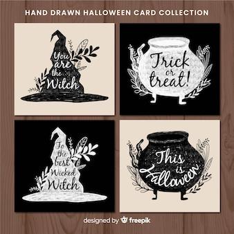 Elegante aquarell halloween kartensammlung
