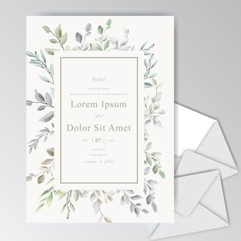 Elegante aquarell-hochzeits-einladungs-karte mit grün-laub