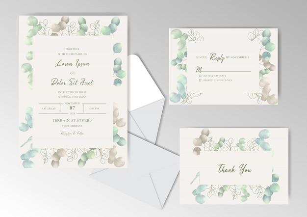 Elegante aquarell-hochzeits-einladungs-karten mit schönem eukalyptus