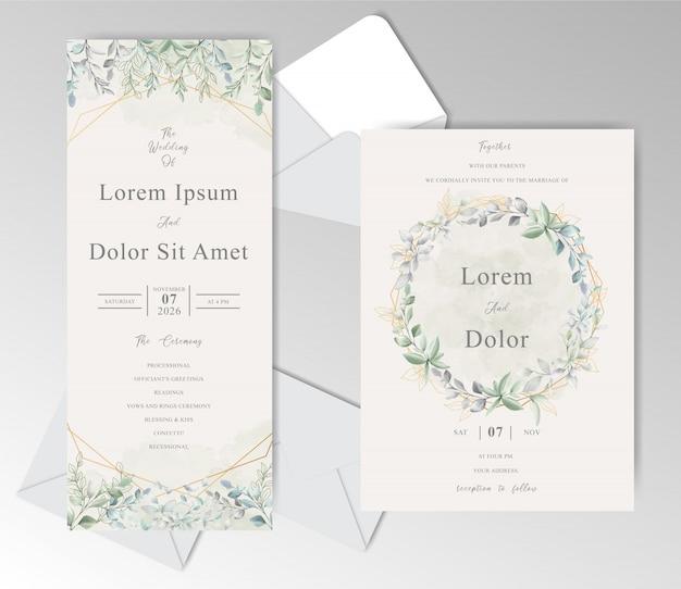 Elegante aquarell-hochzeitseinladungskartenschablone mit schönen blättern