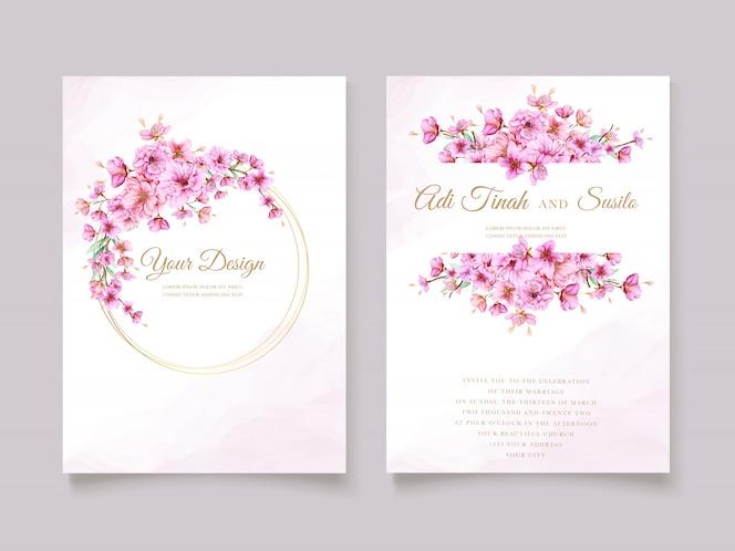 Elegante aquarell-kirschblüten-einladungskartenschablone