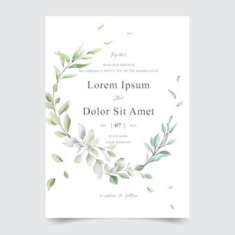 Elegante aquarell-laub-hochzeitseinladungs-schablonenkarte