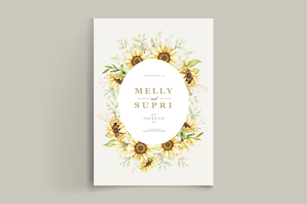 Elegante aquarell sonnenblumen einladungskarte