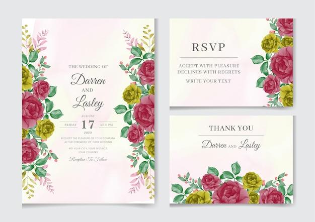 Elegante aquarellblumenhochzeitseinladungskartenschablone mit roten und gelben rosenblumen