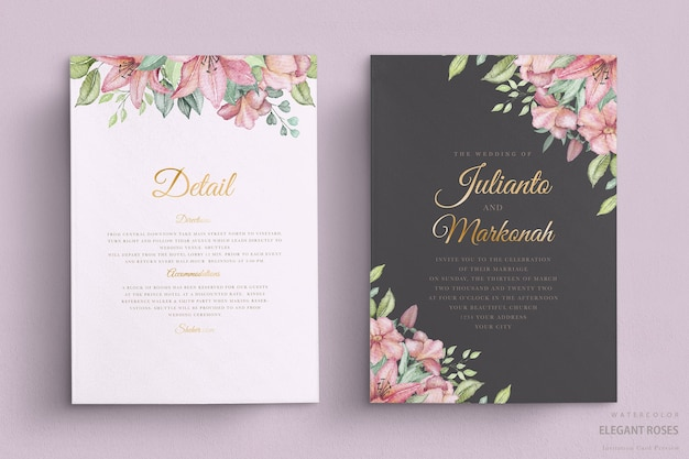 Elegante aquarellblumenhochzeitskarte
