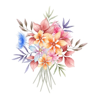 Elegante aquarellfrühlingsblume und blätterrahmen
