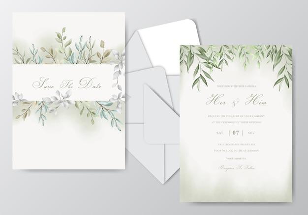 Elegante aquarellhochzeits-einladungskarte mit schönen blättern
