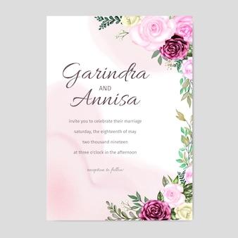 Elegante aquarellhochzeitseinladungskartenschablonendesign mit rosen und blättern