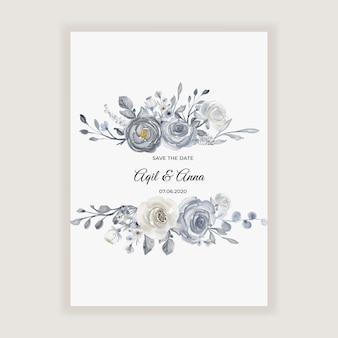 Elegante aquarellhochzeitskarte mit marineblau und weißen blumen