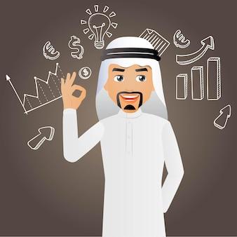 Elegante arabische geschäftsleute oder manager mit diagrammen