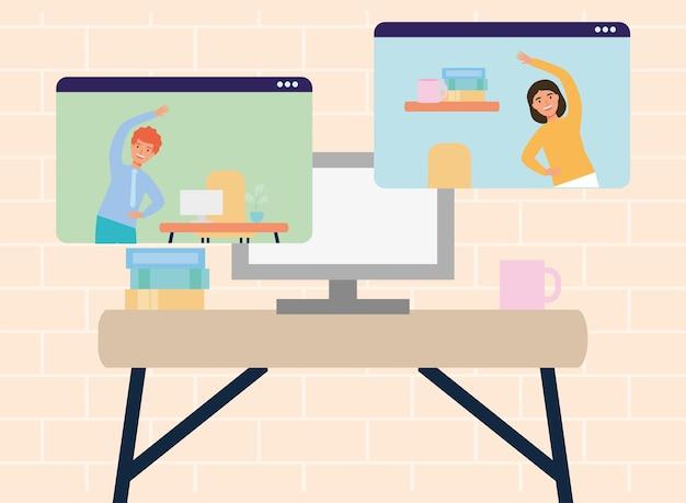 Elegante arbeiter, die online aktive pause üben