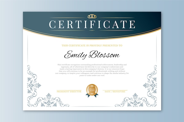 Elegante auszeichnungsvorlage zertifikat
