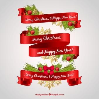 Elegante bänder für frohe weihnachten und neujahr