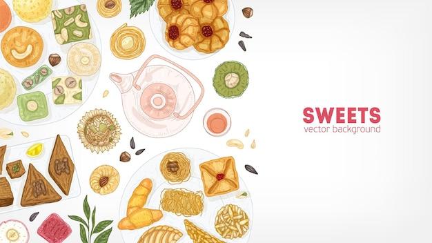 Elegante banner-vorlage mit orientalischen süßigkeiten auf tellern und teekanne auf weiß