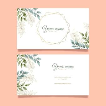 Elegante blätter doppelseitige horizontale visitenkarte