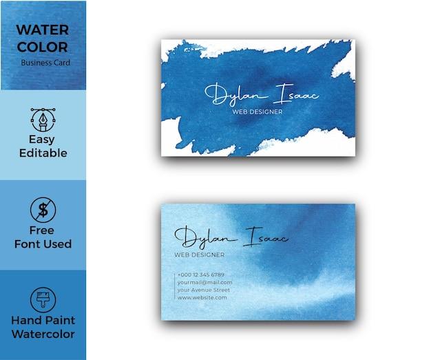 Elegante blaue aquarell-visitenkarte