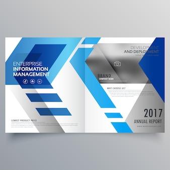 Elegante blaue bifold broschüre design-vorlage oder magazin deckung layout