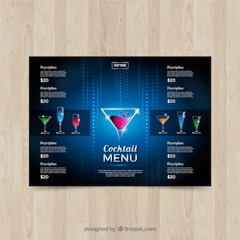 Elegante blaue cocktailkarte vorlage