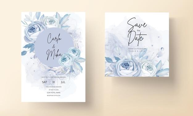 Elegante blaue pfingstrose blume und blätter hochzeitseinladungskartendesign