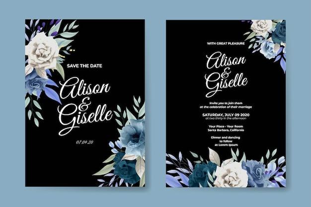 Elegante blaue rosenhochzeitseinladungskarte