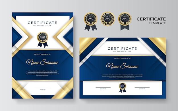 Elegante blaue und goldene diplomzertifikatvorlage