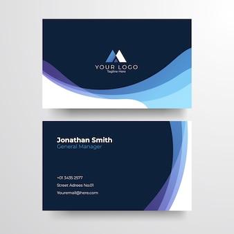 Elegante blaue visitenkarte. elegante minimalistische goldene visitenkarte.