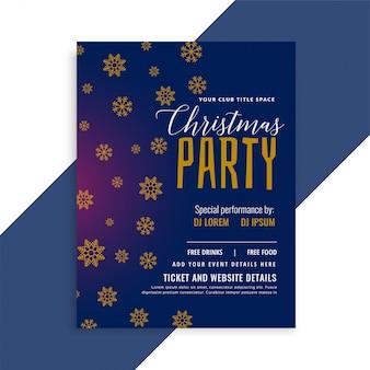 Elegante blaue weihnachtsschneeflockenflieger-designschablone