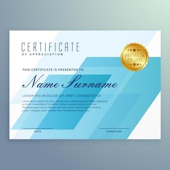 Elegante blaue zertifikat design-vorlage