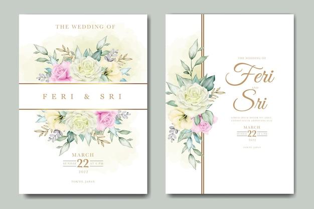 Elegante blume und blätter aquarell hochzeitseinladungskarte