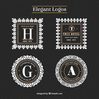 Elegante blumen logos mit rahmen