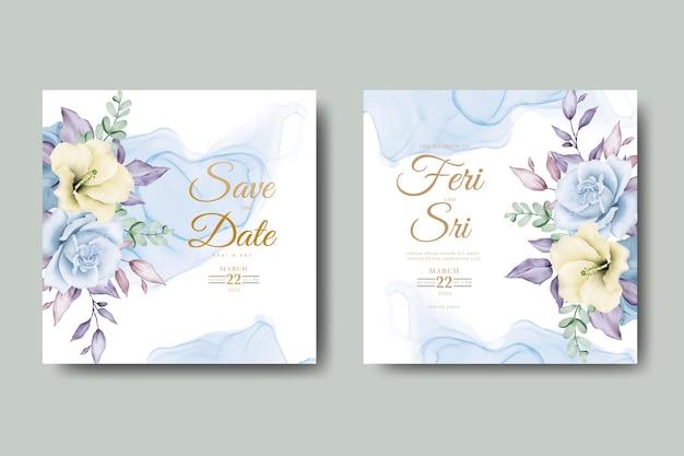 Elegante blumen und blätter aquarell hochzeitseinladungskartenschablone