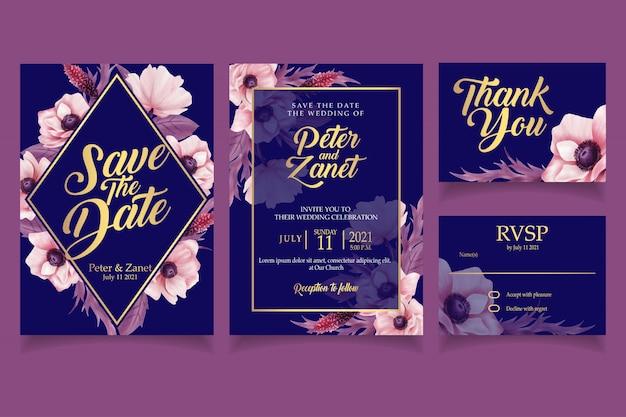 Elegante blumenaquarelleinladungskarten-schablonenweinlese