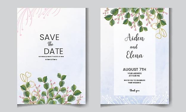 Elegante blumeneinladungskarte des aquarells mit eukaliptusblättern