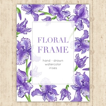 Elegante blumenfeld mit aquarell iris