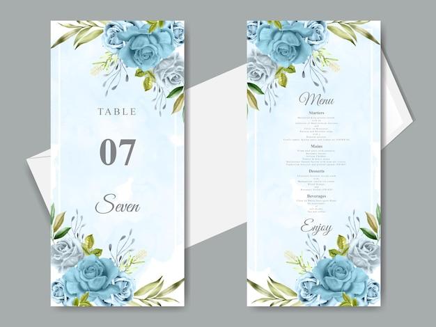 Elegante blumenhand gezeichnete hochzeitseinladungskartenschablone