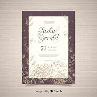 Elegante blumenhochzeits-einladungskarte