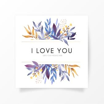 Elegante blumenkarte mit liebesbotschaft