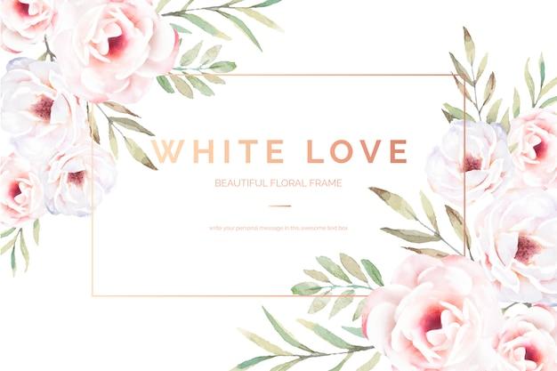 Elegante blumenkarte mit weißen blumen