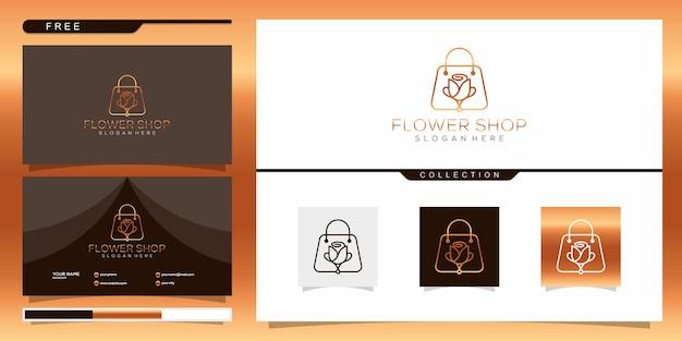 Elegante blumenladen-logo-vorlage. logo-design und visitenkarte